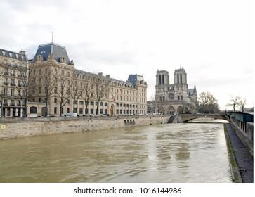 Floods of the Seine, Paris (France). Floods Paris winter, 2018.