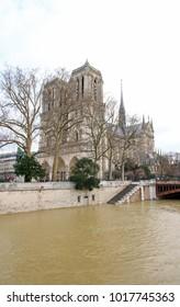 The floods of the Seine, Paris France. Floods Paris winter, 2018.