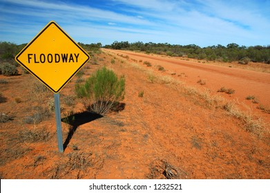 Floodway Road Traffic Sign on a Rural Road