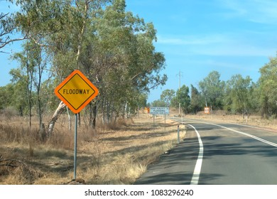 Floodway sign near road in the outback of Queensland in Australia