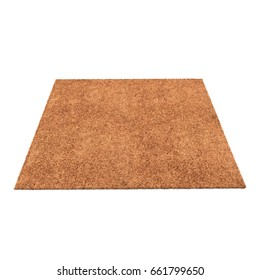 A floor brown rug isolated on a white. 3D illustration