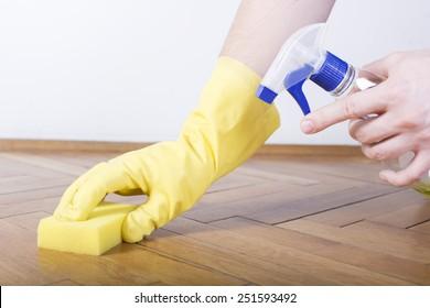 Floor cleaning, sponge, gloves and sprayer