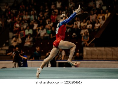 floor exercise runup female gymnast at gymnastics championship