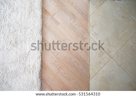 Floor With Laminate Parquete And Marble Tile Pattern Light Wooden Texture Beige Soft Carpet
