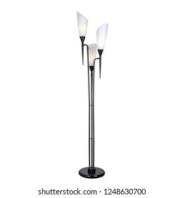 Floor lamp with three lampshades in modern style. Isolated object on white background