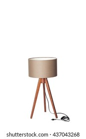floor lamp for three wooden legs on a white background