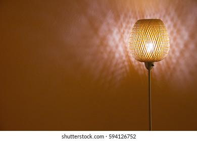 floor lite rattan lamp shine at night (peach background lite)