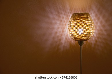 floor lite rattan lamp shine at night (peach background lite)