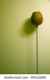 floor lite rattan lamp shine at night (with shadow)