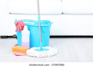 Floor mop and bucket for washing in room