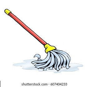 A floor mop illustrated in a cartoon style