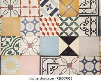 a floor of an old house in france with mosaic tile in cement tiles
