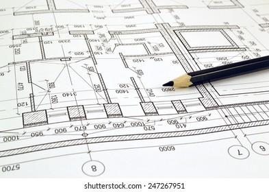 Auf der Zeichnung aufbauender Bodenplan