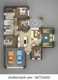 Floor Plan Of Residential House 3d rendering