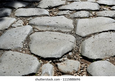 floor of slabs in Via Appia Antica in Rome