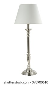 Floor Standing Lamp with Silver Stick & silver plated frame and silver marble base , white shade , isolated on white