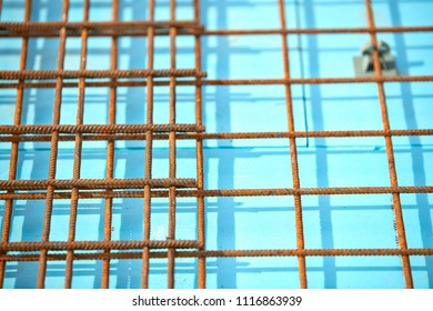 Floor thermal insulation and Wire mesh steel Rebars for reinforced concrete.