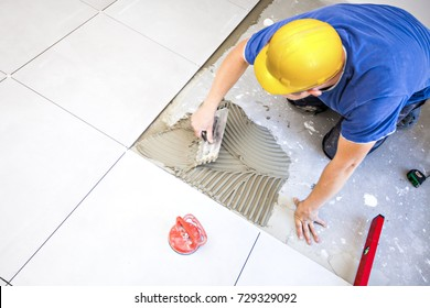 Floor tiles and Construction worker