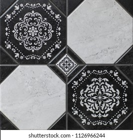 floor tiles, kitchen pattern with abstract mosaic