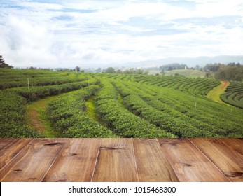 floor tiles wood pattern or wooden top table over white fence and green tea field in the north of Thailand. Spring time landscape and background. Montage style to display organic product.