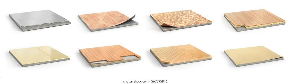 Floor types coating. Flooring Installation. Set of pieces of different floor coating. Parquet, laminate, wooden plank, tiles, concrete. 3d illustration