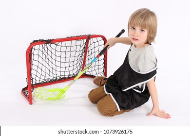 Floorball player boy