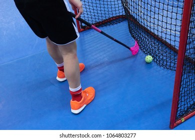 Floorball player with stick and ball standing in goal. Above view