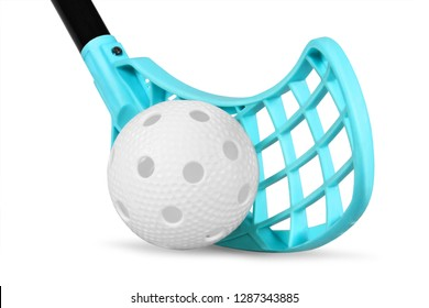 floorball stick and white ball isolated on white background