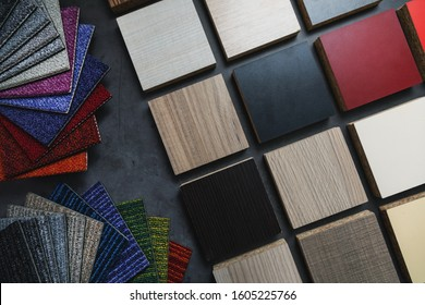 flooring and laminate furniture material samples for interior design project