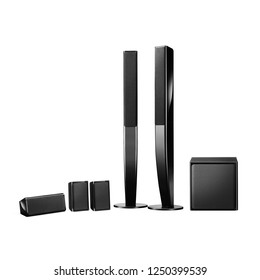 Floorstanding Home Theatre System. Floor Standing Speakers Pair. Acoustic Audio Data Surround Sound Stereo System with Subwoofer and Cone Woofer 5-Channel Output. 5.1 Ch Speaker Pack. Loudspeakers