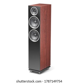 Floor-Standing Tower Speaker Isolated. Walnut Wood Surround Sound Stereo System. Audio Equipment. Wooden Floorstanding Loudspeaker with Soft-Dome Midrange & Woofers. Home Theatre Entertainment System
