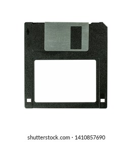 Floppy disk 3.5 inch isolated on white backround. Vintage computer diskette, top front view macro close-up.