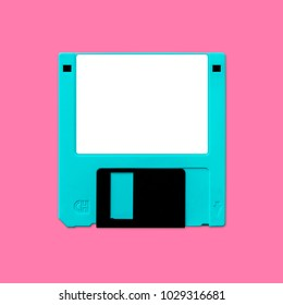 "Floppy disk 3.5"" inch nostalgia, isolated and presented in punchy pastel colors, for creative design cover, CD, poster, book, printing, gift card, flyer, magazine, web & print"