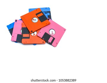 A floppy disk also called a floppy, diskette, or just disk was a ubiquitous form of data storage and exchange from the mid-1970s into the mid-2000s. isolated on white background, copy space