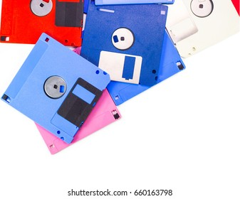 A floppy disk, also called a floppy, diskette ubiquitous form of data storage and exchange from the mid-1970s into the mid-2000s. isolated on white background copy space