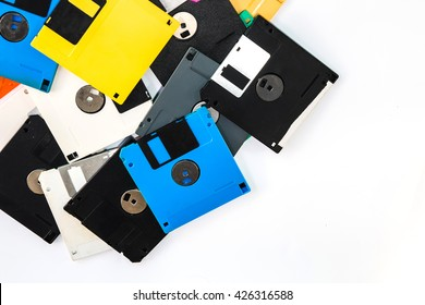 Floppy disk magnetic computer on a white background