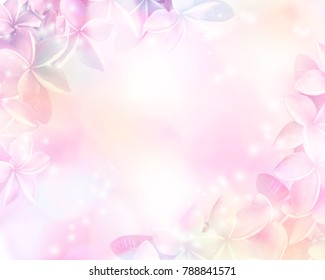 Floral abstract pastel background with copy space. Pink and violet flowers in soft style for wedding or valentine's day card.