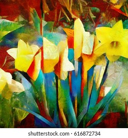 Floral abstraction daffodils. Made in the style of cubism in an easy manner of impressionism. Oil on canvas with elements of pastel painting.