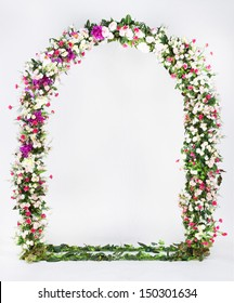 floral arch on a gray background