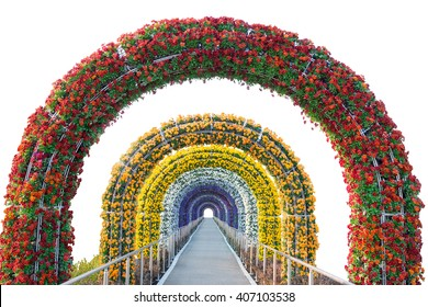 floral arch and walkway isolated on white background.Object with clipping path.