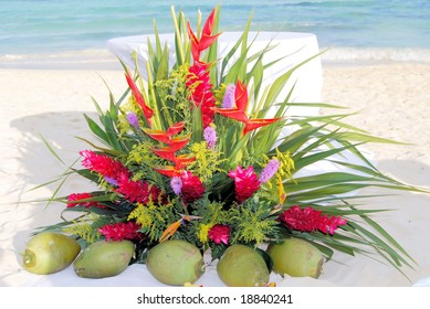 floral arrangement at a beach wedding in Mexico