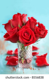 Floral arrangement of red Roses in vase