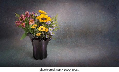 Floral arrangement and vase isolated on background