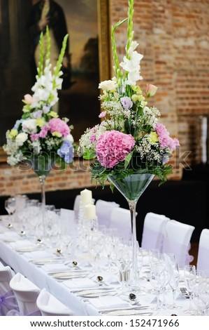 Floral arrangement wedding reception pink purple stock photo edit floral arrangement at wedding reception with pink purple and white flowers mightylinksfo