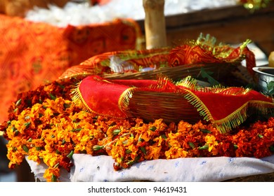 floral arrangment for holi festival and religious offerings in india.