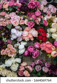 Floral art made of colorful artificial roses  in view