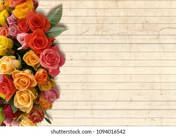 A floral background with a bouquet of flowers on the side and an empty pale wood panel for copy space