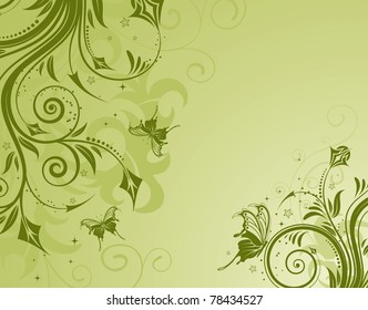 Floral background with butterfly, element for design, illustration