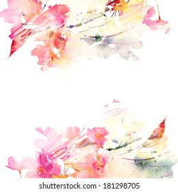 Floral background. Sakura. Watercolor floral bouquet. Birthday card.