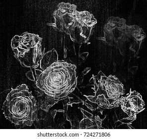 Floral background with stylized bouquet of roses on grunge striped backdrop in black and white colors for web design